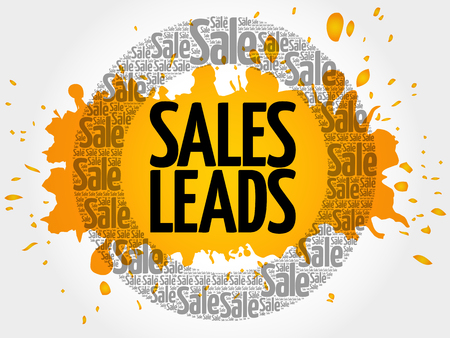 Sales Leads words cloud, business concept background Illustration