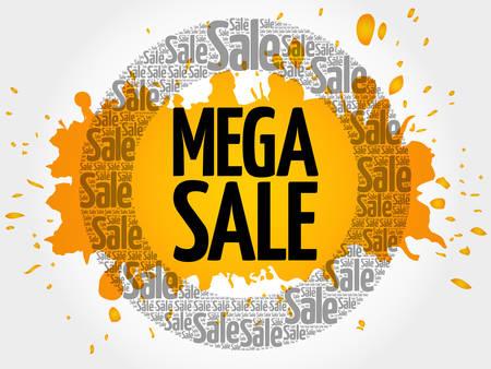 MEGA SALE words cloud, business concept background