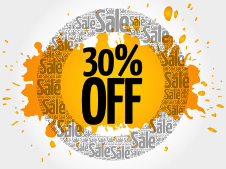 30% OFF stamp words cloud, business concept background
