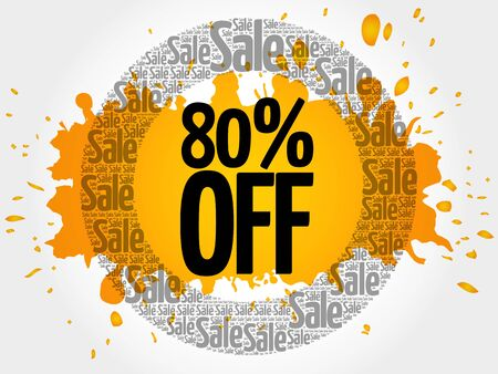 trade off: 80% OFF words cloud, business concept background