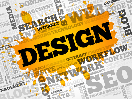 web browser: DESIGN word cloud, creative business concept