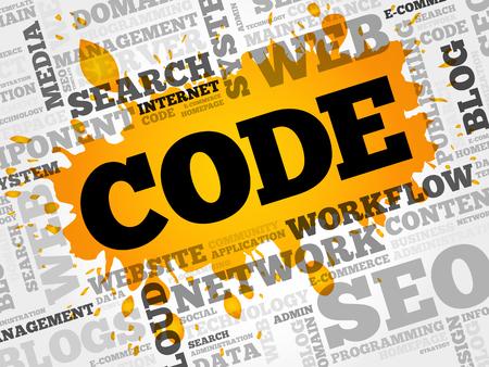 CODE word cloud, business concept Illustration