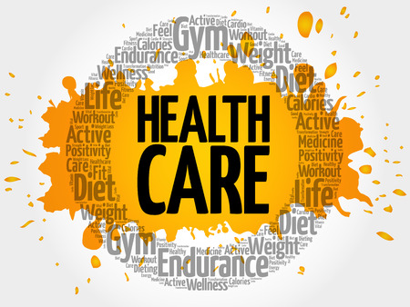 Health care circle word cloud, fitness, sport, health concept