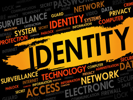 IDENTITY word cloud collage, security concept