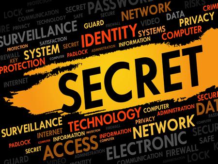 private security: SECRET word cloud, business concept