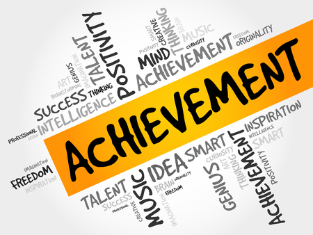 competence: Achievement word cloud collage, business concept background Illustration