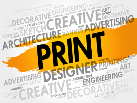 PRINT word cloud, creative business concept background Çizim