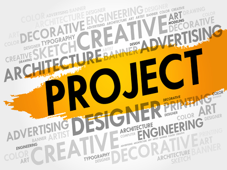 html: PROJECT word cloud, creative business concept background Illustration