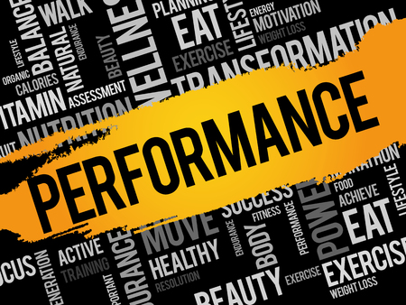 PERFORMANCE word cloud collage, health concept background