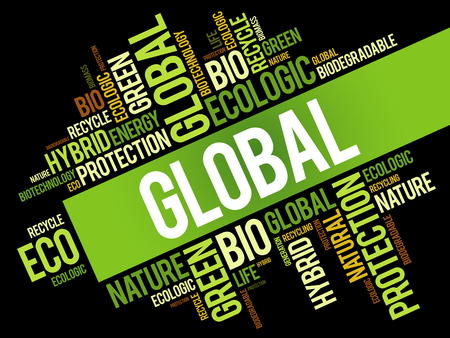 worthy: Global word cloud, conceptual green ecology background
