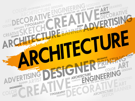 Architecture word cloud, creative business concept background Illustration