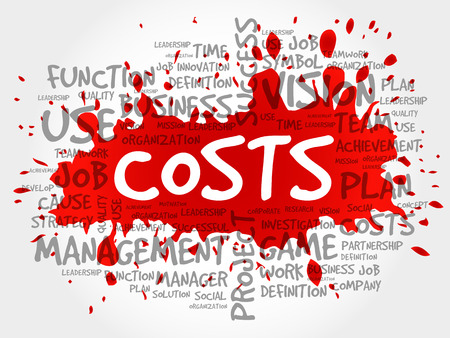 COSTS word cloud collage, business concept background Illustration