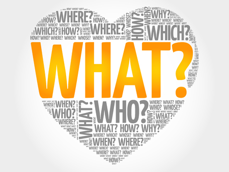 questions: WHAT? Question heart, Questions words concept background