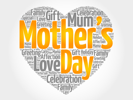 Mothers day heart word cloud collage, concept background