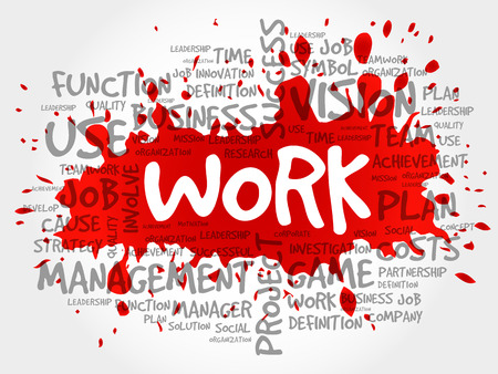 WORK word cloud collage, business concept background