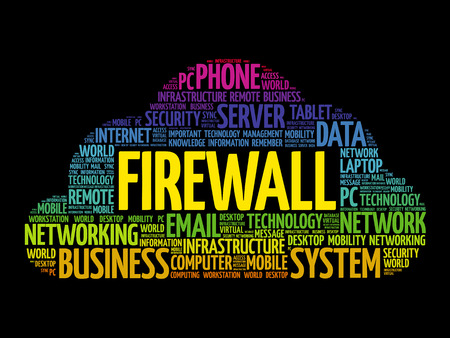 FIREWALL word cloud collage, technology concept background Illustration