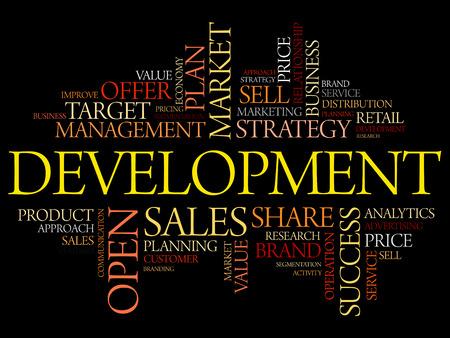 potential: Development word cloud collage, business concept background Illustration