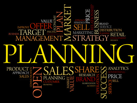 tactics: Planning word cloud collage, business concept background