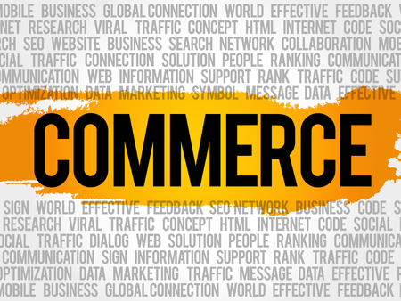 b2b: COMMERCE word cloud collage, business concept background