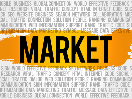 Market word cloud collage, business concept background