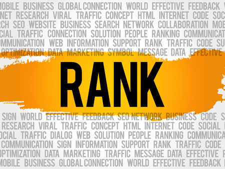 keyword research: RANK word cloud collage, business concept background Illustration