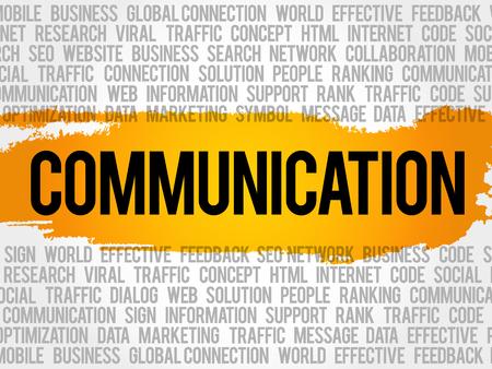 comunicación escrita: COMUNICACIÓN word cloud collage, fondo del concepto de negocio