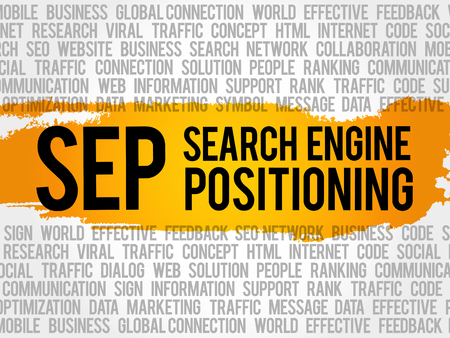SEP (search engine positioning) word cloud collage, business concept background Illustration