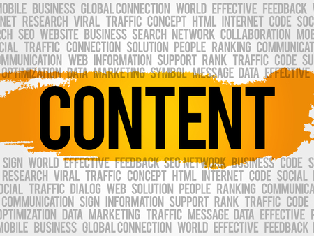CONTENT word cloud collage, business concept background Illustration