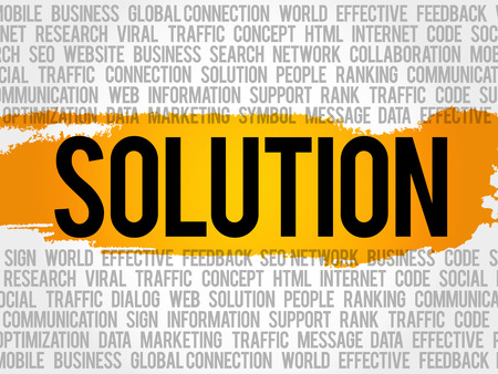 Solution word cloud collage, business concept background Illustration