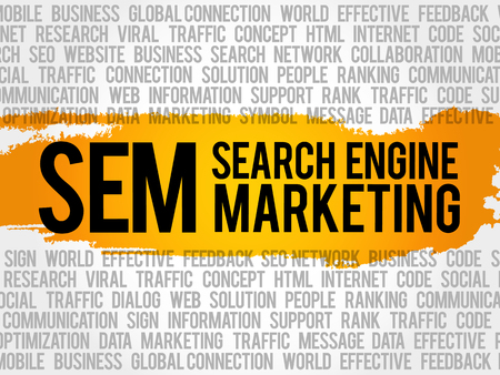 SEM (Search Engine Marketing) word cloud collage, business concept background Illustration