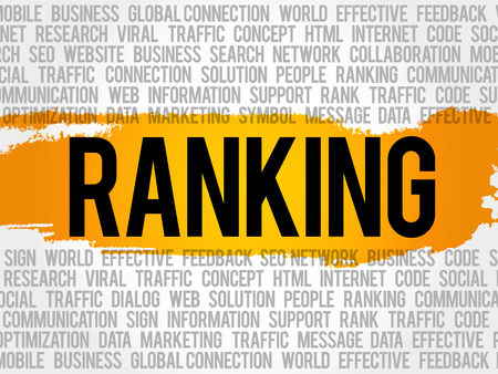 RANKING word cloud collage, business concept background Illustration