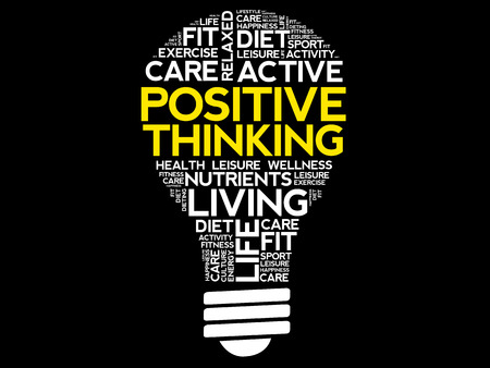 Positive thinking bulb word cloud collage, health concept background
