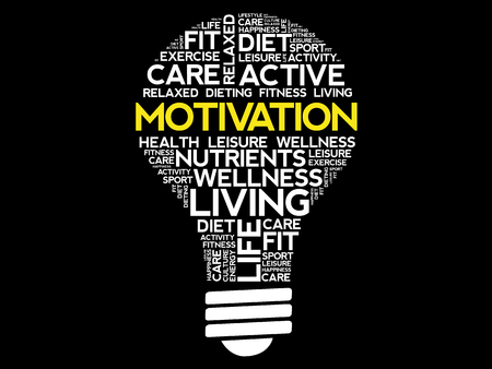 potential: MOTIVATION bulb word cloud collage, health concept background