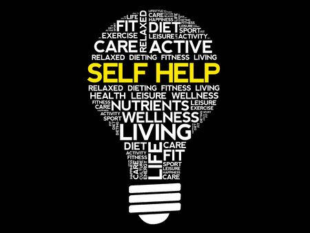Self Help bulb word cloud, health concept Illustration