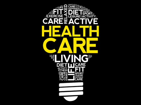 Health care bulb word cloud collage, health concept background