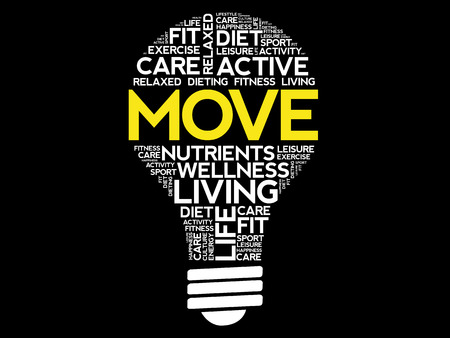 potential: MOVE bulb word cloud collage, health concept background