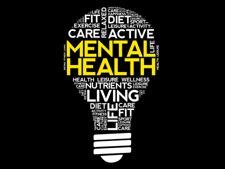 Mental health bulb word cloud collage, health concept background