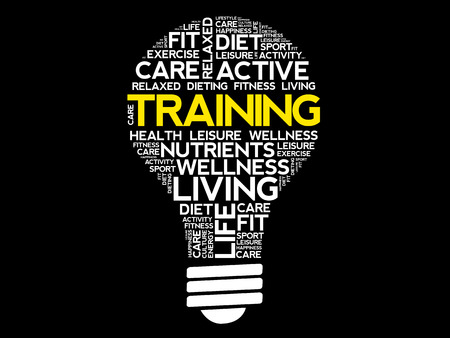 potential: TRAINING bulb word cloud collage, health concept background Illustration