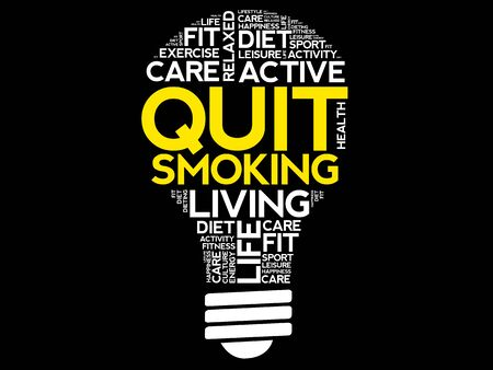 advantages: Quit Smoking bulb word cloud collage, health concept background