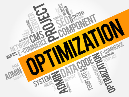 OPTIMIZATION word cloud collage, business technology concept background Illustration