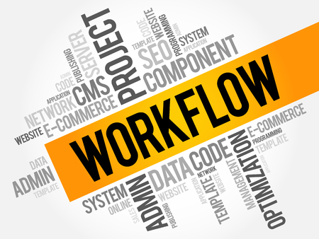 WORKFLOW word cloud collage, business technology concept