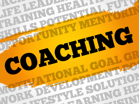 potential: Coaching word cloud collage, business concept background Illustration