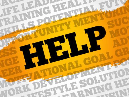 Help word cloud, business concept