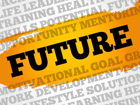 Future word cloud collage, business concept background