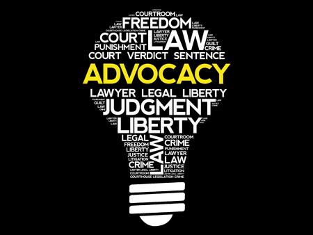 Advocacy bulb word cloud collage concept design.