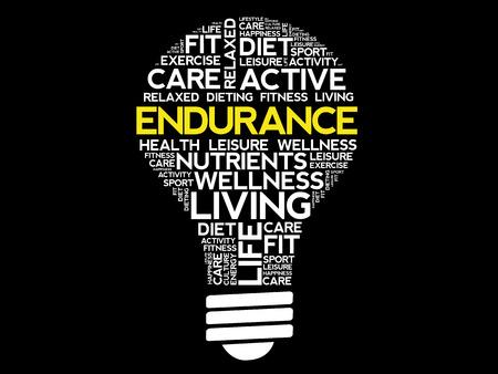 ENDURANCE bulb word cloud collage, health concept design.