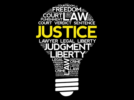 Justice bulb word cloud collage, concept design.