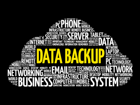 connection connections: Data Backup word cloud collage, business concept background