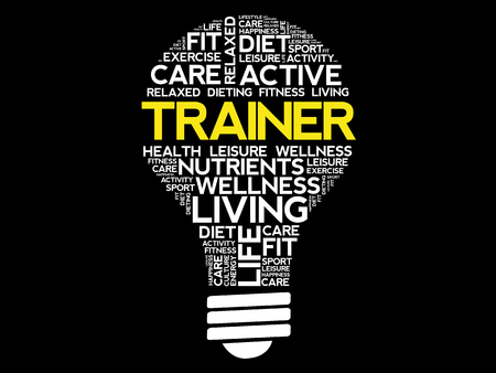 TRAINER bulb word cloud collage, health concept background Illustration