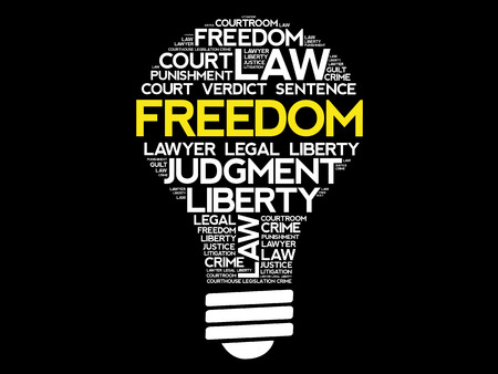 criminal: Freedom bulb word cloud collage, concept background